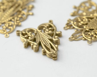 Raw Brass Raised Filigree Connector 3 Loop Charms Findings 28mm (12)