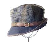 Wool Patchwork Fedora Hat- Fall Fashion- Winter Hat- Packable Hat- Men's Hat- Women- Tweed Fedora Hat- Tartan Plaid-Dark Denim- Upcycled