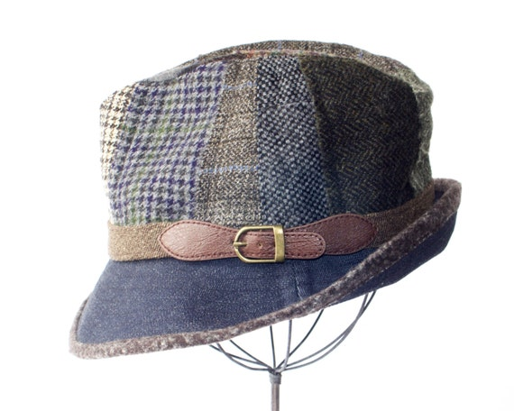 Wool Patchwork Fedora Hat Fall Fashion Winter Hat Packable Hat Men's Hat Women's Hat Tweed Fedora Hat Tartan Plaid Dark Denim Upcycled Hat