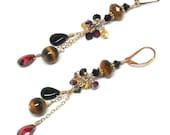 tigereye, garnet cz crystal dangle chain earrings