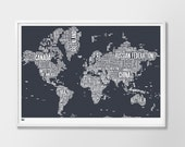 World Type Map, World Word Map, World Font Map, World Artwork, World Wall Poster, World Map, World Typographic Wall Poster, World Art Print