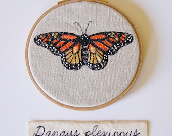 Monarch Butterfly Hoop Art Embroidery Natural History Wildlife Endangered Species Woodland Nature Lover Home Decor Danaus plexippus