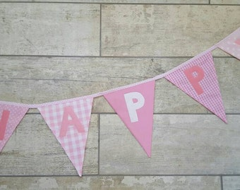 Happy Birthday Bunting fabric Banner Custom made to order Birthday Party Wedding Celebration Photo prop