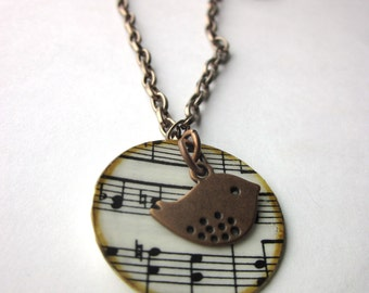 Music necklace charm necklace, literary necklace, book jewelry, paper bead, Joy of Music