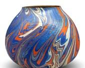Blue and Orange Swirl - Decorative Wood Vessel