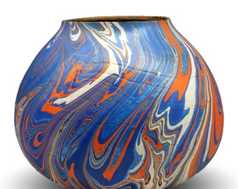 Blue and Orange Swirl - Decorative Wood Vessel