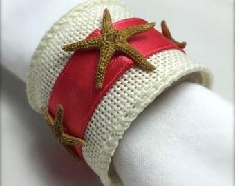 Brown Starfish Napkin Ring with coral trim- Beach Wedding - seashore - shells