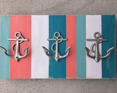 Beach towel rack turquoise coral anchor nautical decor Beach House Dreams lake cottage coastal outdoor shower pool hot tub outside hooks OBX