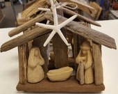 3 THREE ORIGINAL Driftwood nativity ornament 3 Christmas tree ornaments religious manger scene wood nativity baby Jesus BeachHouseDreams OBX