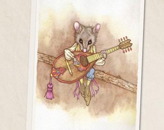 "Mandolin Mouse 5""x7"" blank greeting card"