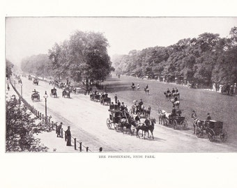 1900 Landscape Photograph - Hyde Park Promenade London England - Antique Vintage Nature Art Photo Illustration for Framing 100 Years Old