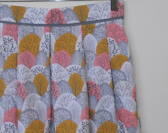 spring woodland...retro print cotton pleated midi skirt with pockets