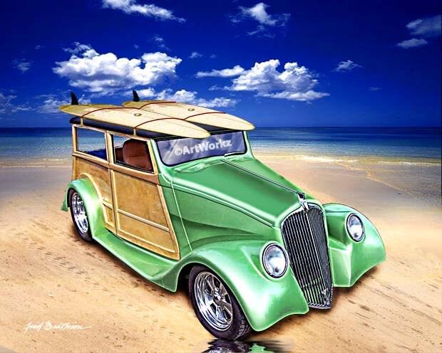 Auto Art Hot Rod Art Classic Car Print 33 Willys Woody