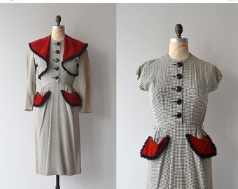 25% OFF.... Farnese Check dress and jacket | vintage 1940s dress • 40s dress and jacket