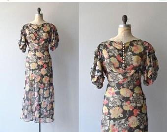 25% OFF.... Floral Jubilee dress | vintage 1930s floral dress | floral chiffon 30s gown