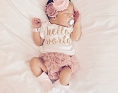 PRE ORDER (DECEMBER) Baby Girl Take Home Outfit Newborn Baby Girl Hello World Bodysuit Bloomers Headband Set Dusty Rose Pink