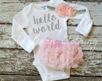 Baby Girl Take Home Outfit Newborn Baby Girl Hello World Bodysuit Pink Bloomers Pink Headband Set Lola Bean Clothing