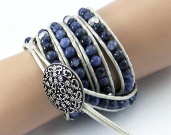 Blue Sodalite Gemstone Bead leather wrap bracelet handmade 5xwraps ivory leather cord ladder bracelet