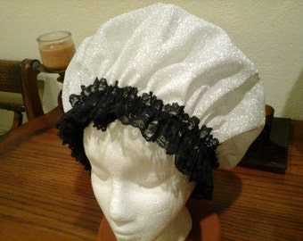 Fancy Shower Cap, Silver  Lace Black Lace Trim Fits Med. Free Shipping
