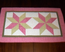 Quilted Table Topper, Pink Green, Table Runner, Evening Star, Sale Priced, Dining Table Decor, 17x29 inches, Machine Quilted