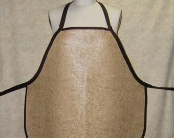 Tooled Leather Look vinyl apron wrap around chef style tan vinyl brown cotton trim wet messy job apron