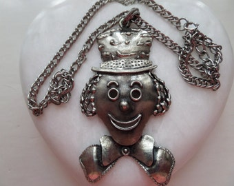 Vintage Large Happy Smiling Clown Face with Hat Pendant Necklace