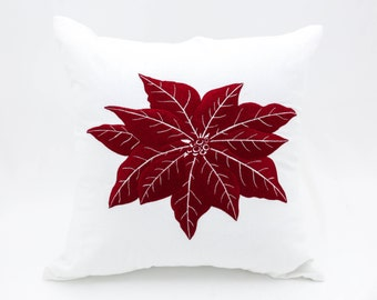 Christmas Decorative Pillow Cover, Throw Pillow Cover, Couch Pillow, White Red Linen Poinsettia Embroidery, Holiday Pillows, Christmas Decor