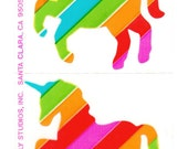 2 Rare Vintage 80s Hambly Studios Transparent Rainbow Unicorn Sticker Mods