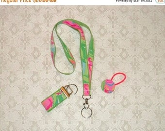 SWEET SALE Pink Green Lilly Pulitzer So A Peeling Fabric Lanyard Set 3pc