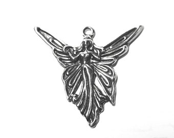 Large Winged Fairy Pendant Charm - cast in fine genuine Pewter