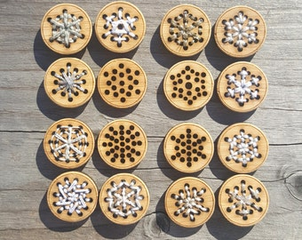 """Snowflake Buttons Stitchable Bamboo 4 x 3/4"""", 1"""" or 1.25"""" Card of Buttons"""