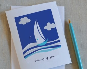 Miss You Card, Sympathy Card, Thinking of you Card, Blue, Sail Boat, Ocean, Sea