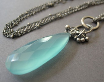 Aqua Chalcedony Necklace, Gemstone Necklace, Multi Chain Necklace, Sterling Silver Jewelry, Statement Necklace