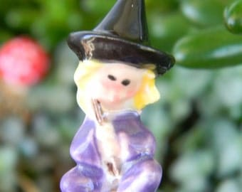 Ceramic witch   handcrafted   terrarium miniature glazed Pottery .  Halloween decor safe Outside Dollhouse fall outside decor