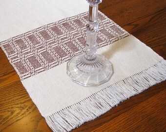 Handwoven Table Runner Hand Woven Dresser Scarf Thanksgiving Buffet Scarf Hand Woven Coffee Table Runner Natural and Brown Table Runner