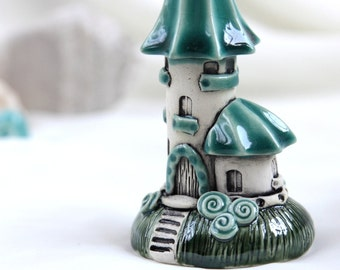 Spring Turquoise Sky House of tiny fairies -- unique Hand Made Ceramic Eco-Friendly Home Decor by studio Vishnya