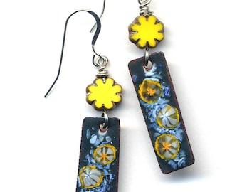 Enamel Earrings, Lemon Earrings, Sterling Silver Earrings, Yellow Blue Earrings, Handmade Jewelry by AnnaArt72