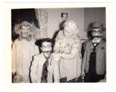 vintage Photo Halloween Costume Children visit Grandma 1960s snapshot