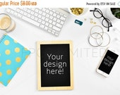 CLEARANCE SALE Styled Stock Photography, white desk with notebook, teal, gold, notebook, web design background, blogger image, social media