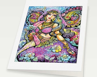 Bollywood illustration, lavender butterfly, goddess art, fairy art, beautiful Indian woman, woman card, blank art card, 6x8