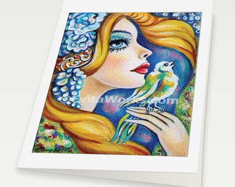 angel art for women divine feminine good gift ideas for girl room affordable art gifts, woman card, blank art card, 6x8