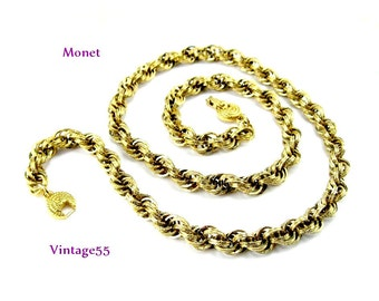 Necklace Monet Gold tone Rope 24 inch Triple Link