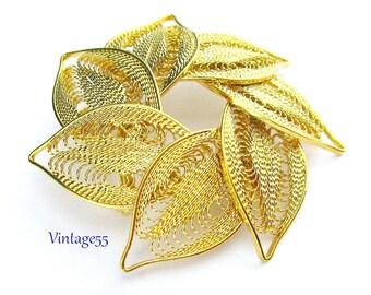 Circle Brooch Leaves Gold tone Filigree Fall Fashion