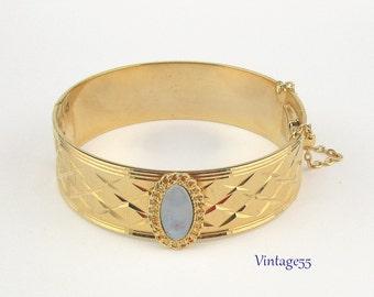 Bracelet Bangle Opaline Glass Gold wash