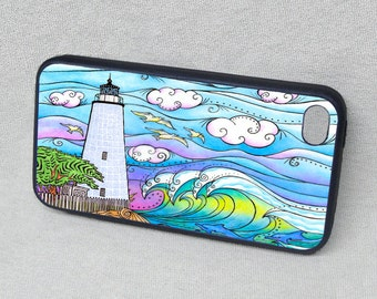 Ocracoke Waves, Lighthouse, Outer Banks, Rubber iPhone 5 iPhone 6s case, cover, iPhone 4, iPhone 4s