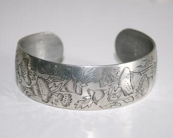 Leonard Genuine Pewter Bracelet Made in Bolivia Poppy Design