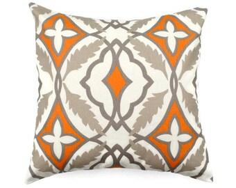 Decorative Accent Pillow COVER -  Eden Cinnamon Macon - Pumpkin Orange - Sizes Available  16x16, 18x18, 20x20