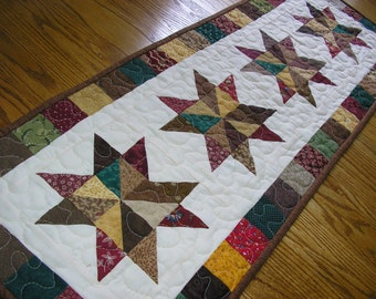Quilted Table Runner, Patchwork Star Runner, 14 x 40 inches