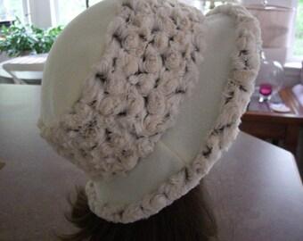 ROSE MINKY Adult Bucket HAT, Ecru minky flop hat, Women's Fleece Hat, Women's Winter Hat