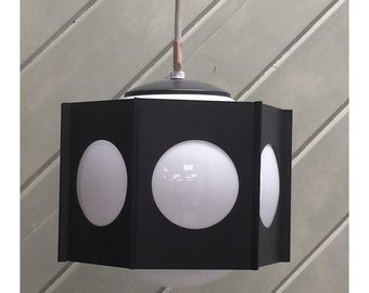 1960s MOD Black and White Pendant Light Fixture Lavery Brand Brentwood Series NOS Vintage